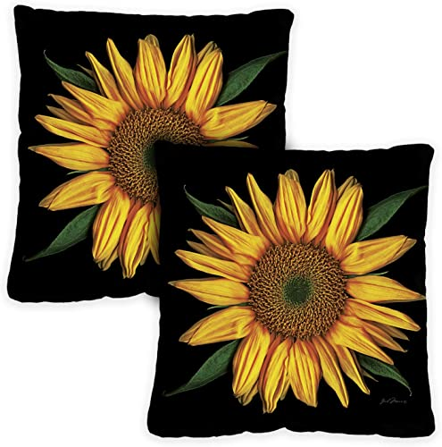 Toland Home Garden 721281 Sunflowers On Black 18 x 18 Inch Indoor Outdoor, Pillow with Insert 2-Pack