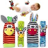 Baby Rattle Toys - Cute Animal Infant 4pcs (2 pezzi in vita e 2 pezzi Sozzy Socks) Soft Wrist Bell Strap Sonagli e Foot Socks Finder Set Sviluppo Soft Toys per bambini from Funky Planet