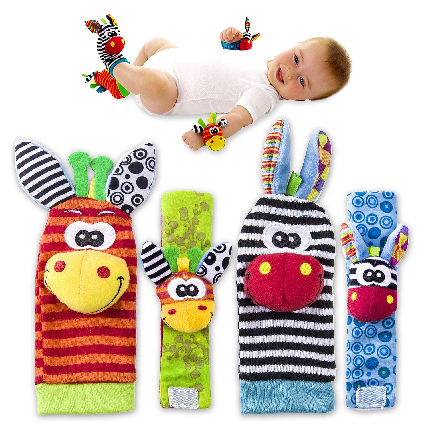 VALUE MAKERS Baby Rattle Toys Cute Animal Infant 4pcs 2pcs Waist