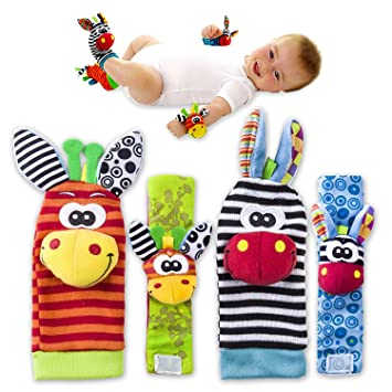 VALUE MAKERS Baby Rattle Toys - Cute Animal Infant 4pcs(2pcs Waist and 2pcs  Socks