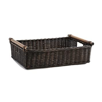 The Basket Lady Low Pole Handle Wicker Storage Basket, Extra Large, Antique  Walnut Brown