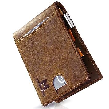 e23ec6bf1f6d6 MANEVITO Portemonnaie mit Kreditkartenetui I Herren Wallet RFID Schutz mit  Geldklammer und Münzfach I Männer Geldbörse