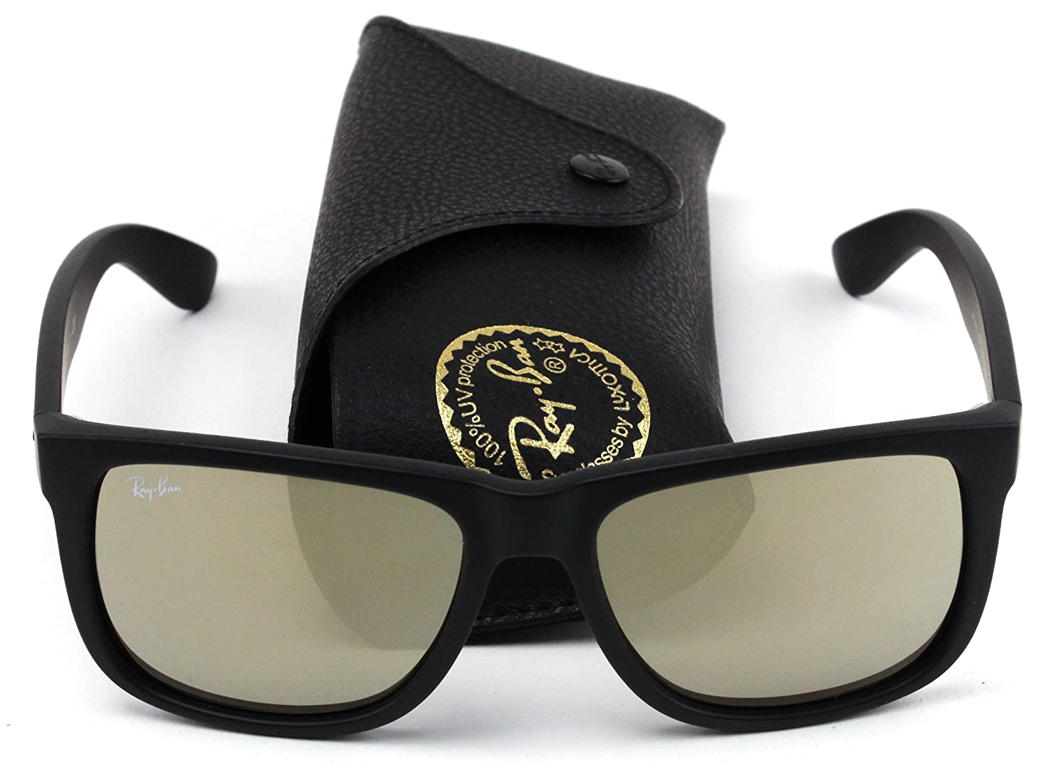 1f0193a34e Amazon.com  Ray-Ban RB4165 622 5A Justin Unisex Sunglasses Black Rubber  Frame   Gold Mirror Lens  Shoes