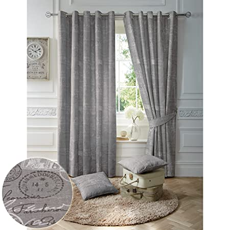 Just Contempo Modern French Script Curtains Ready Made Fully Lined With Ring Top Eyelets