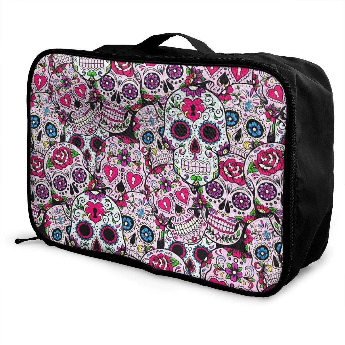 Sugar Skull Mexcian Pattern Travel Duffel Bag Casual Large Capacity Portable Luggage Bag Suitcase Storage Bag Luggage Packing Tote Bag Weekend Trip