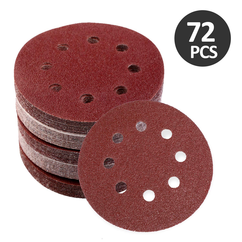MaStrap 5 Inch 8 Hole Hook /& Loop Adhesive Sanding Discs 72 Pcs Assorted Sandpaper Set 40 60 80 120 180 240 320 Grits for Random Orbital Sander