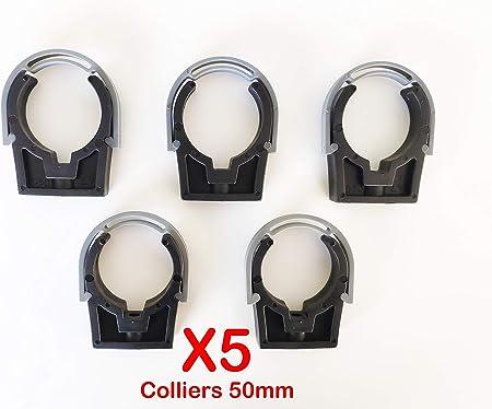 Colliers PVC de fixation /à clip PP ferm/é PVC 50mm Fixation Industrielle tuyaux Lot de 5
