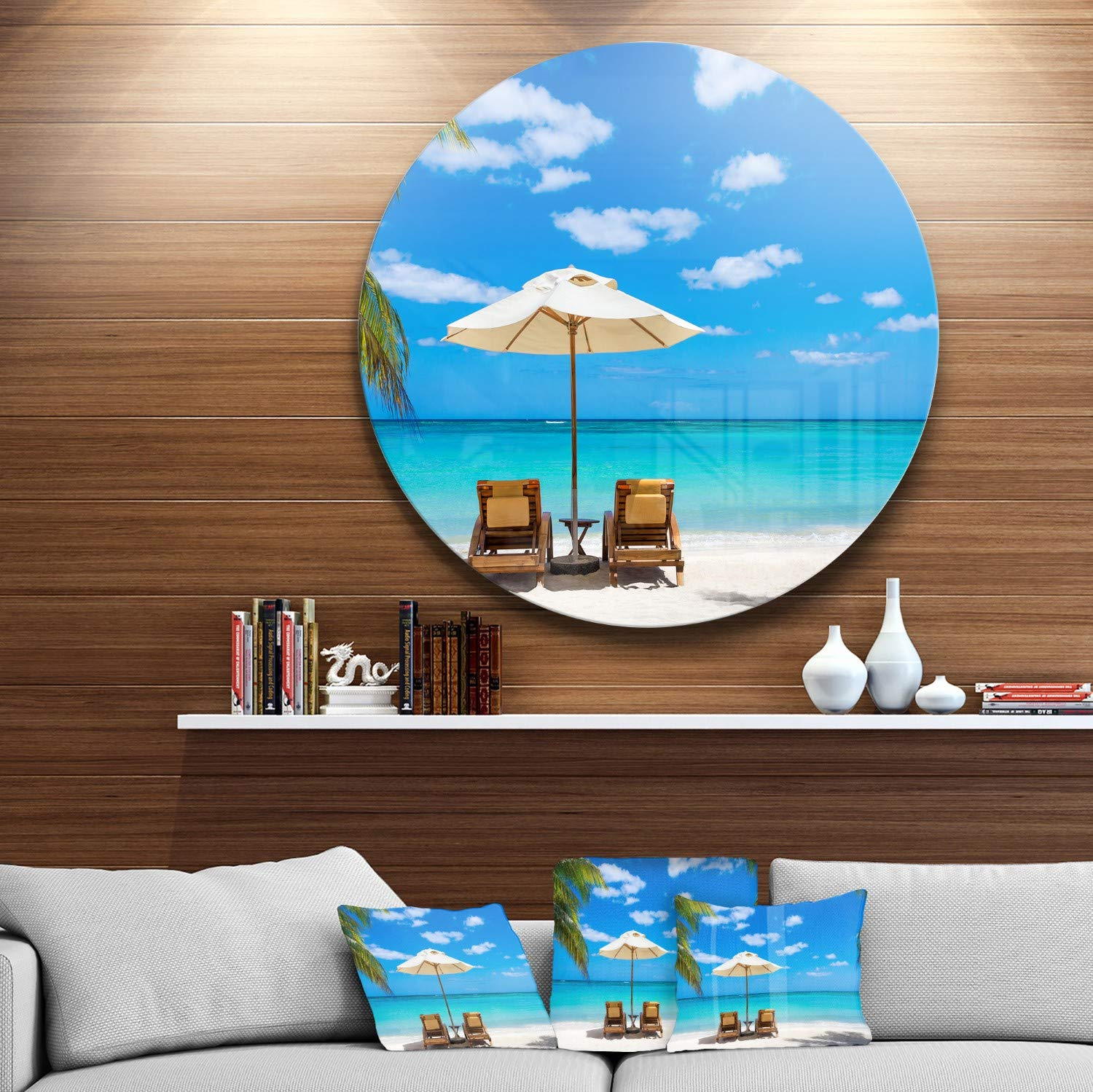Blue Disc of 38 Designart Turquoise Beach with Chairs 38x38-Disc of 38 inch Seashore Photo Round Wall Art
