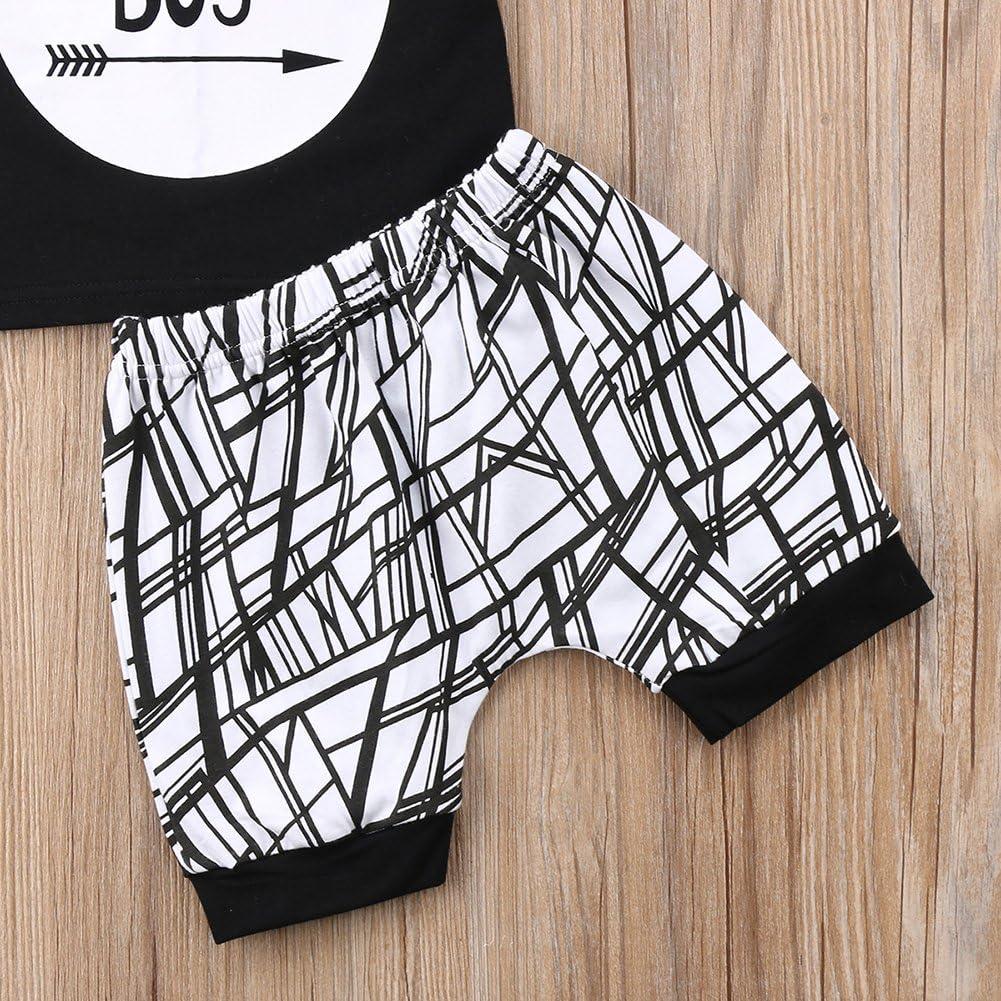 Baby Boys Outfit Mamas Boy Pint Short Sleeve T-Shirt+Striped Leggings Pants Clothes Sweatsuit Set