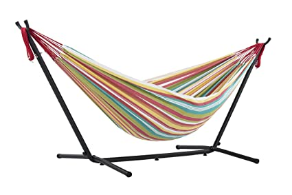 Bon Vivere Double Hammock With Space Saving Steel Stand, Salsa