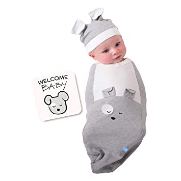 Itzy Ritzy Cocoon and Hat Swaddle Set Cutie Cocoon Includes Name Announcement 0