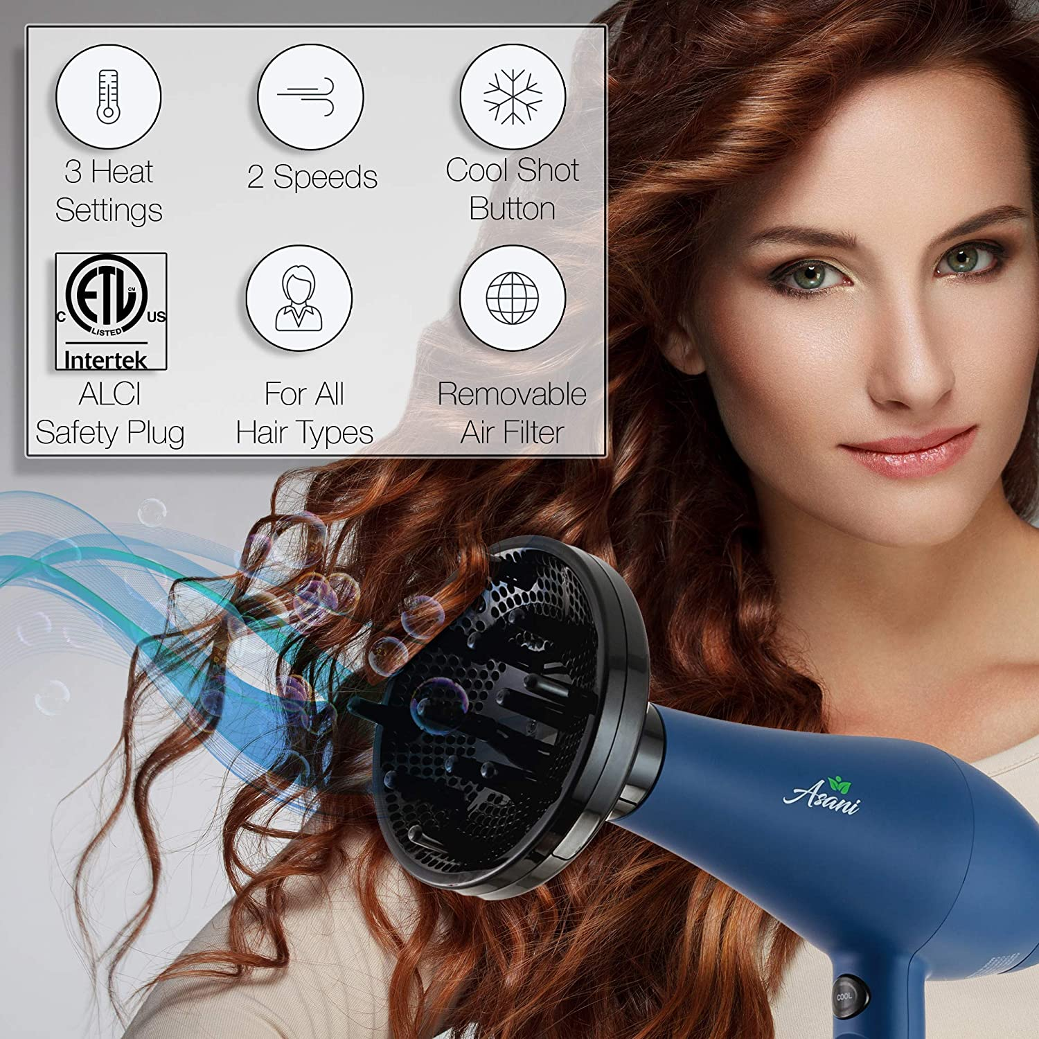 Negative Ion Hair Blow Dryer with Diffuser Professional Anti-frizz 1875W Extra-Fast Infrared Blow dryer Straightener with Quiet Salon-Grade Motor 3 Attachments, 3 Heat Settings and 2 Speeds