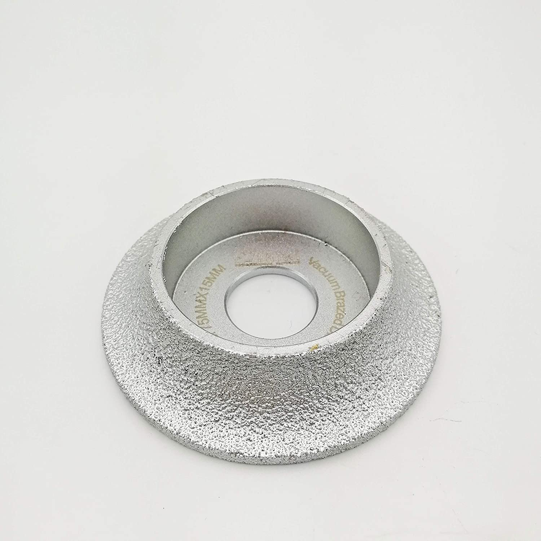 DIATOOL 3 Inch/75MM Vacuum Brazed Diamond Grinding Wheel Demi-Bullnose Edge Profile for Stone Abrasive Grinding disc Vacuum Brazed Profile Hand Diamond Wheel Grit 60 (Diamond Height 20mm) SHANGHAI DIATOOL CO. LTD.