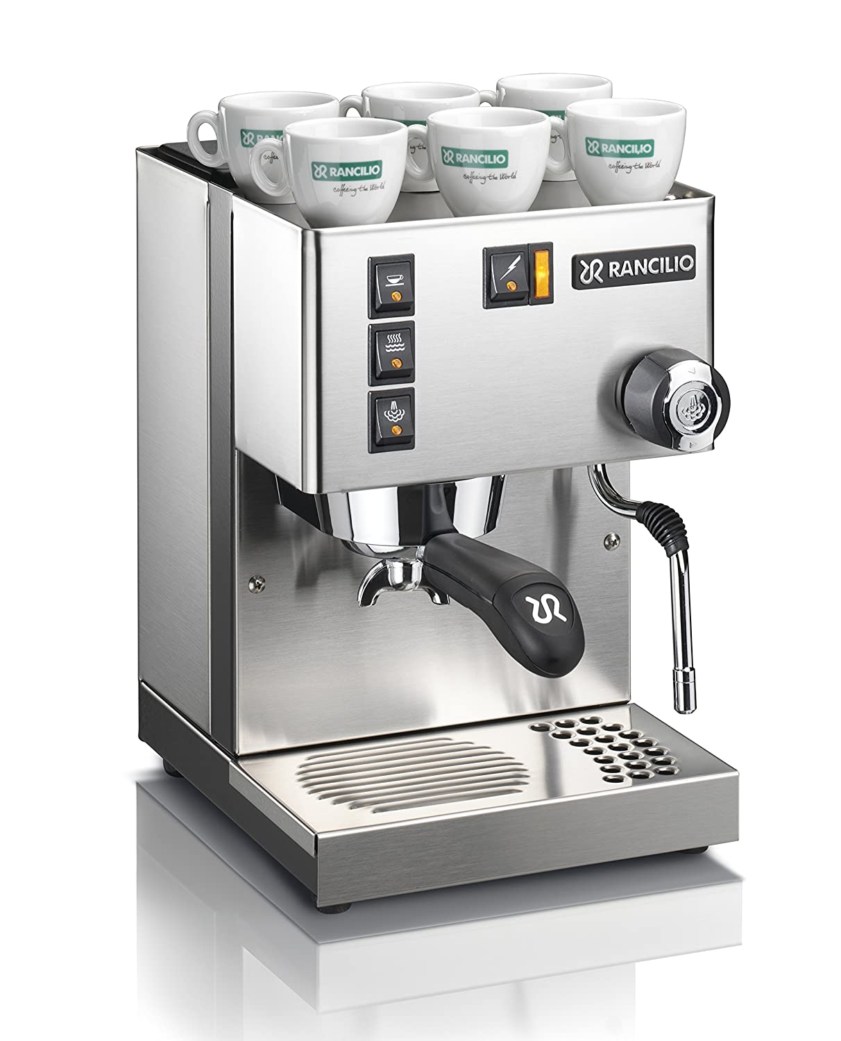 Rancilio Silvia Espresso Machine with Iron Frame and Stainless Steel Side  Panels, 11 4 by 13 4-Inch