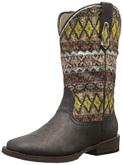 eaf568a8581 Roper Aztec Metallic Square Toe Bling Cowgirl Boot (Toddler/Little Kid)