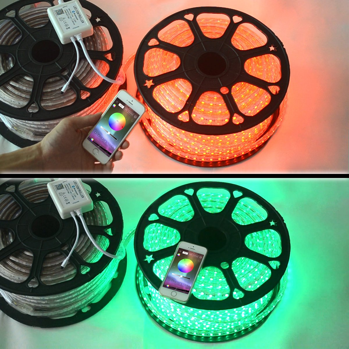 Outdoor Lighting SuperlightingLED AC 110V High-Voltage LED Bluetooth Color Changing RGB Controller with IR Remote and Music Time APP Control System for 90Ft AC110~130V Waterproof LED Tape Lights Home Decoration