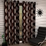Home Sizzler 2 Piece Eyelet Polyester Door Curtain Set - 7ft, Brown