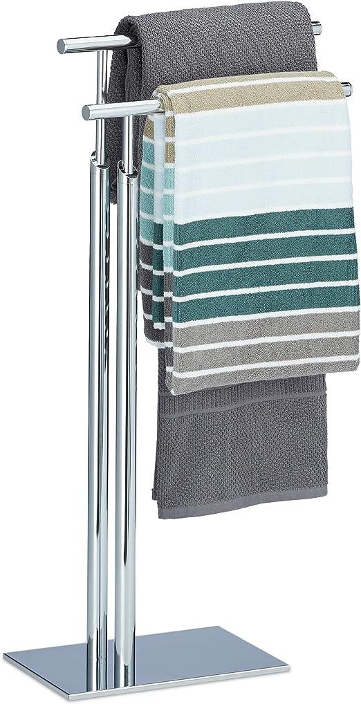 Relaxdays Handtuchhalter stehend PAGNONI Handtuchständer 2 armig HBT 78 x 46 x 20 cm Standhandtuchhalter Chrom silber