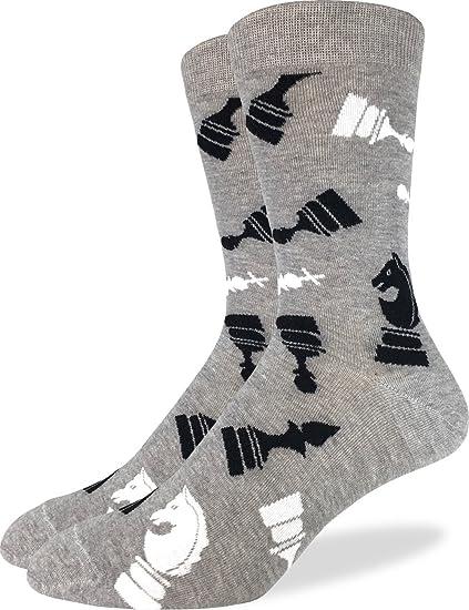 4cd0709c2791 Amazon.com: Good Luck Sock Men's Chess Crew Socks - Grey, Shoe Size 7-12:  Clothing