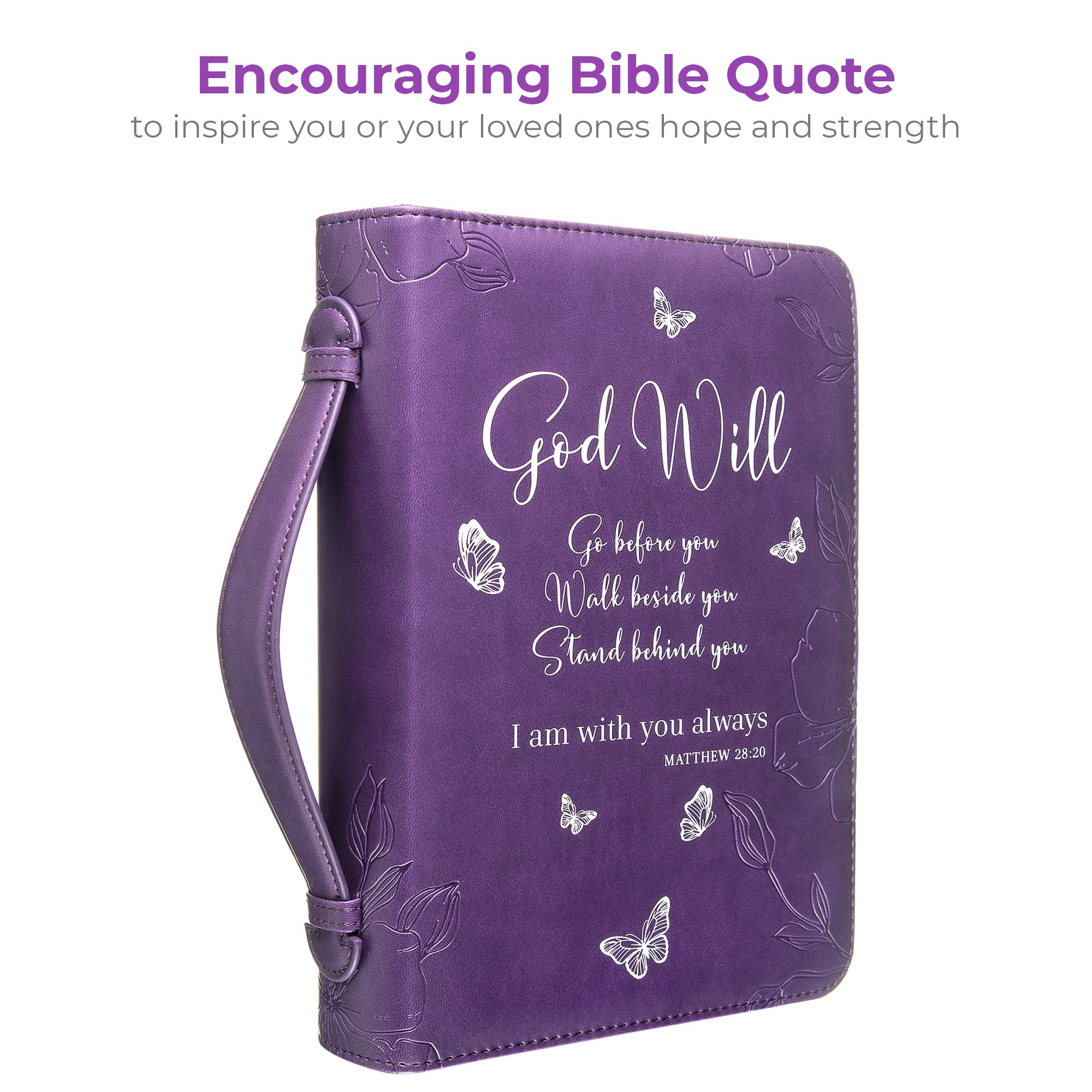 Bible Cover - Book Case in Purple with Butterflies - Blessed - Perfect Christian Gift for Women and Girls - Fits Most Popular Bible Sizes (10 x 7 x 2.5 inches) - Faux PU Leather