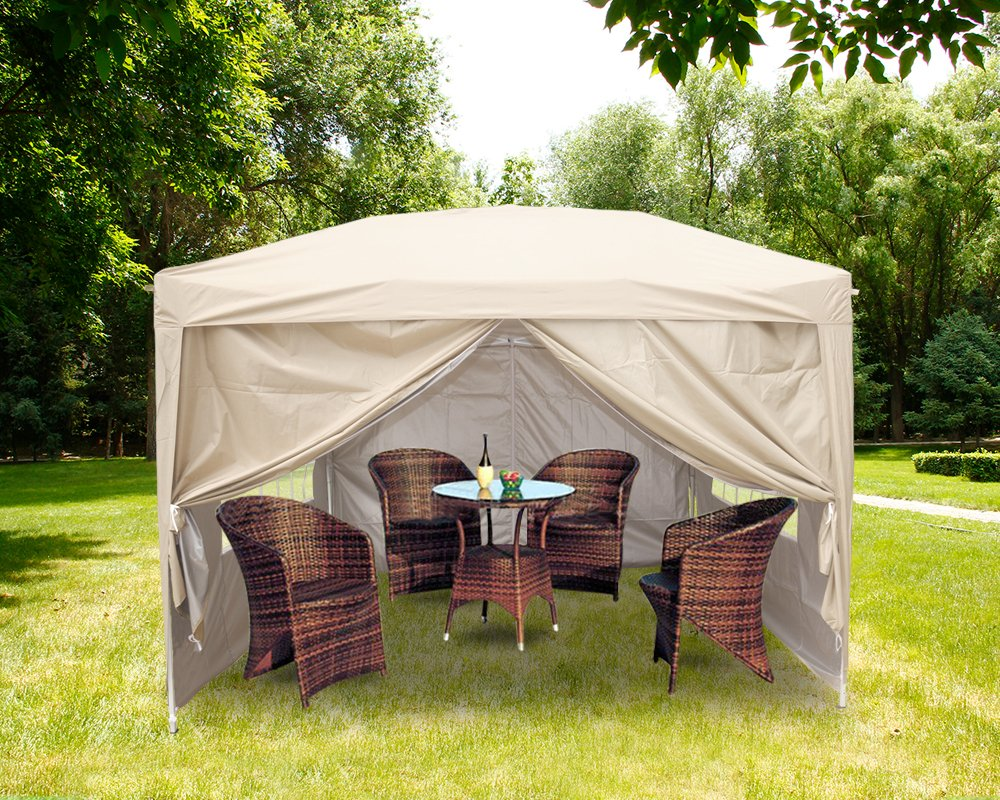 Greenbay 3m x 3m Pop-Up Garden Pop Up Gazebo with 2 x Wind-Bars, 4 x Weight-Bags, 4 x Side Panels and Carry Case - Choice of Colours (Beige) Manufactured for Greenbay