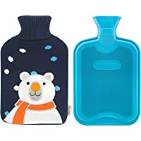 HomeTop Premium Classic Rubber Hot Water Bottle and Cute Animal Embroidery Knit Cover (White Bear / Navy Blue)