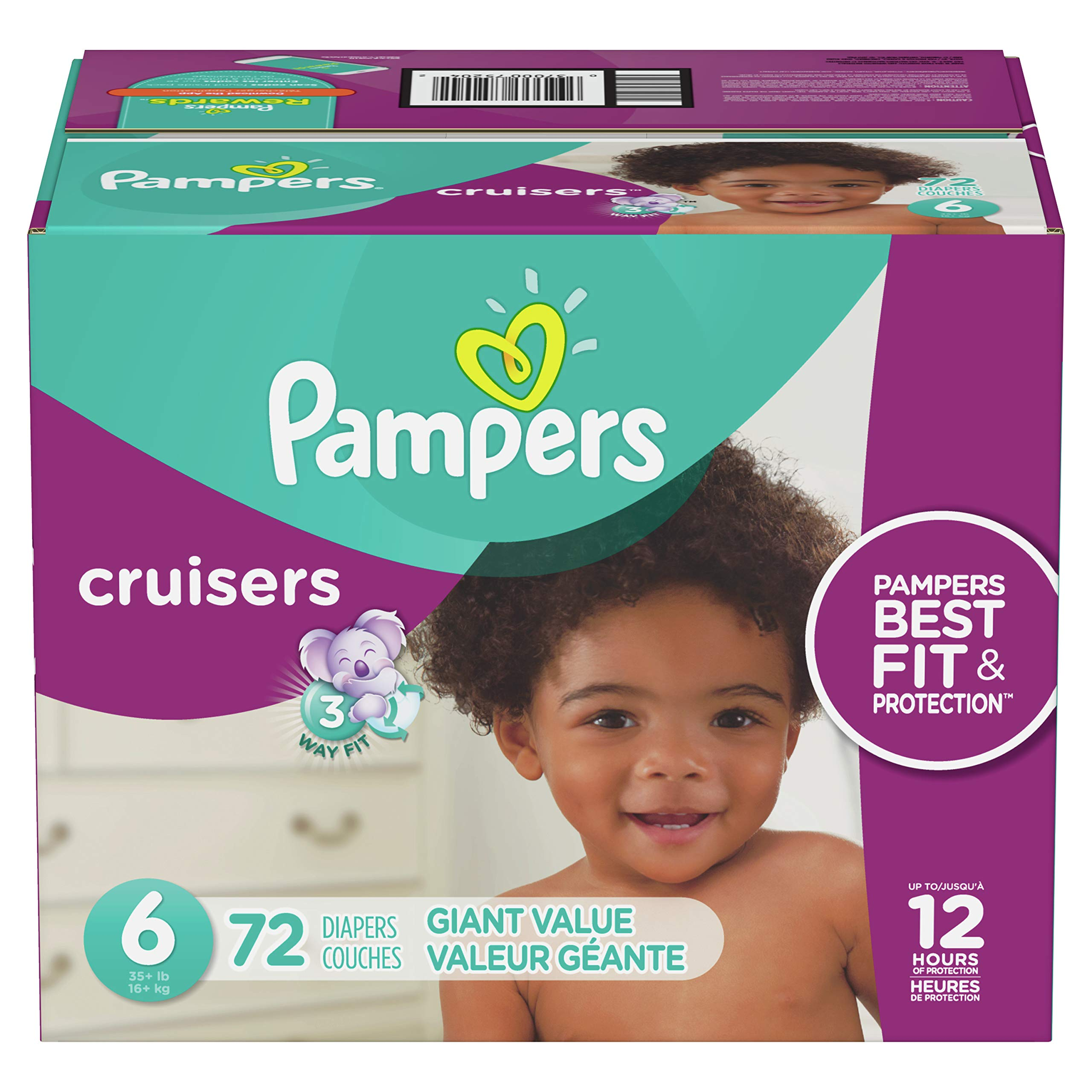Diapers Size 6, 72 Count - Pampers Cruisers Disposable Baby Diapers, Giant Pack (Packaging May Vary) by Pampers