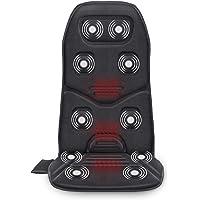 Comfier - Cojín de masaje con calor, 10 motores de vibración, 3 almohadillas térmicas, masajeador de espalda para silla, cojín de masaje para aliviar el dolor de espalda, coche y uso en el hogar y la oficina