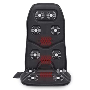 Comfier Massage Seat Cushion with Heat - 10 Vibration Motors, 3 Heating Pad, car Back Massager for Chair, Massage Chair Pad for Back Pain Relief car and Home Office use