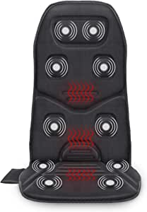 COMFIER Massage Seat Cushion with Heat - 10 Vibration Motors, 3 Heating Pad, Car Back Massager for Chair, Massage Chair Pad for Back Pain Relief Ideal Gifts for Women,Men