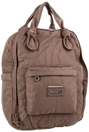 fca56f16bdd1 Amazon.com  Marc by Marc Jacobs Pretty Nylon Knapsack Backpack Quartz Grey  One Size  Clothing