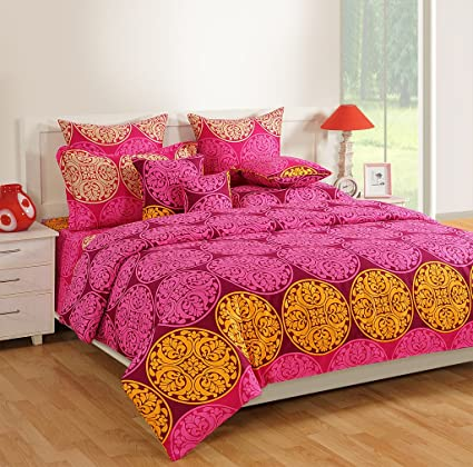 Swayam Purple Colour Fitted Double Bed Sheet With Pillow Covers