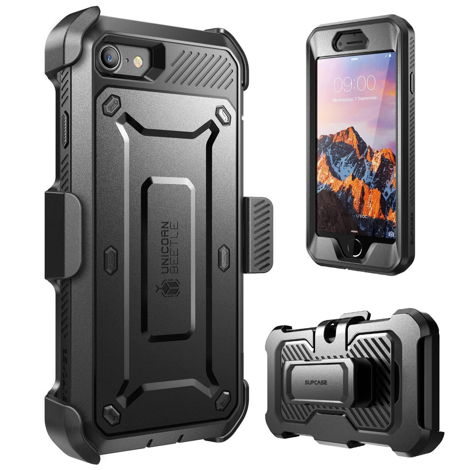 iPhone 8 Case, SUPCASE Full-body Rugged Holster Case with Built-in Screen Protector for Apple iPhone 7 2016/iPhone 8 (2017 Release), Unicorn Beetle PRO Series - Retail Package (Black/Black) by SUPCASE (Image #2)