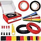 Plusivo - Juego de cables de silicona de calibre 12, 10 pies, color rojo y negro, flexible, 12 AWG, alambre de cobre estañado