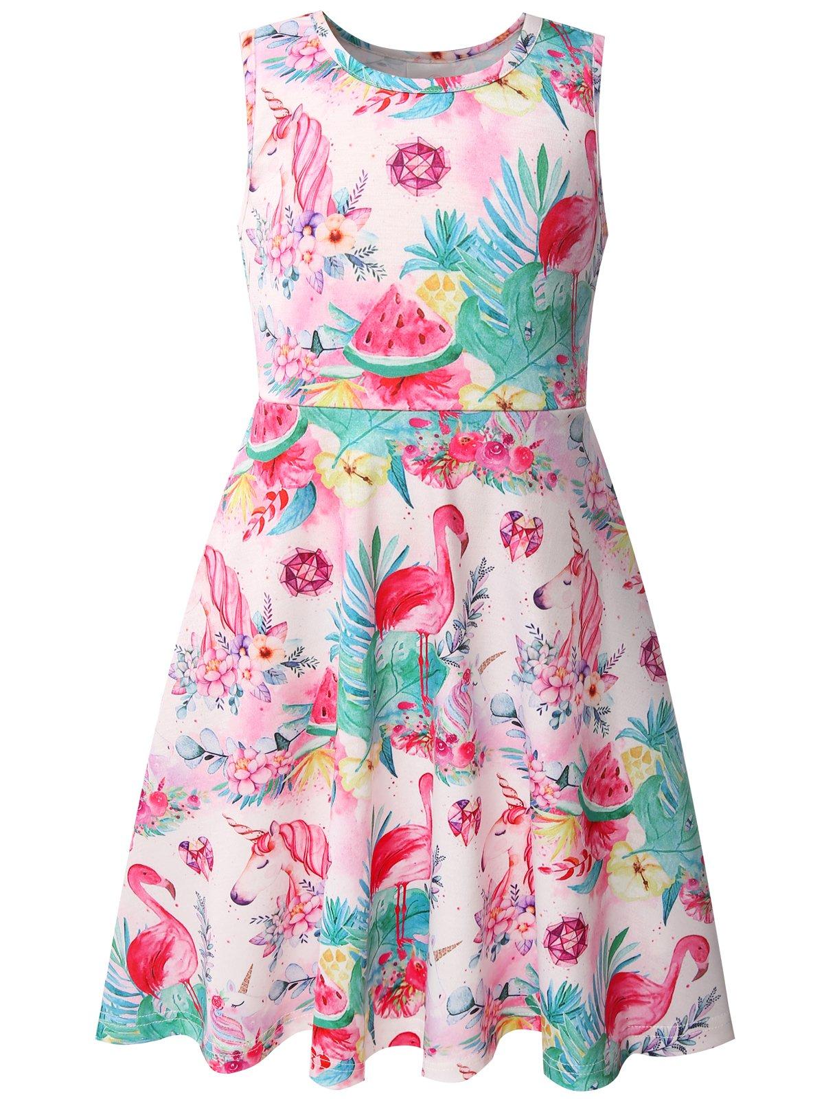Bonny Billy Girls' Summer Flamingo Cotton Tanks Dress for Children Size 5-6 Pink