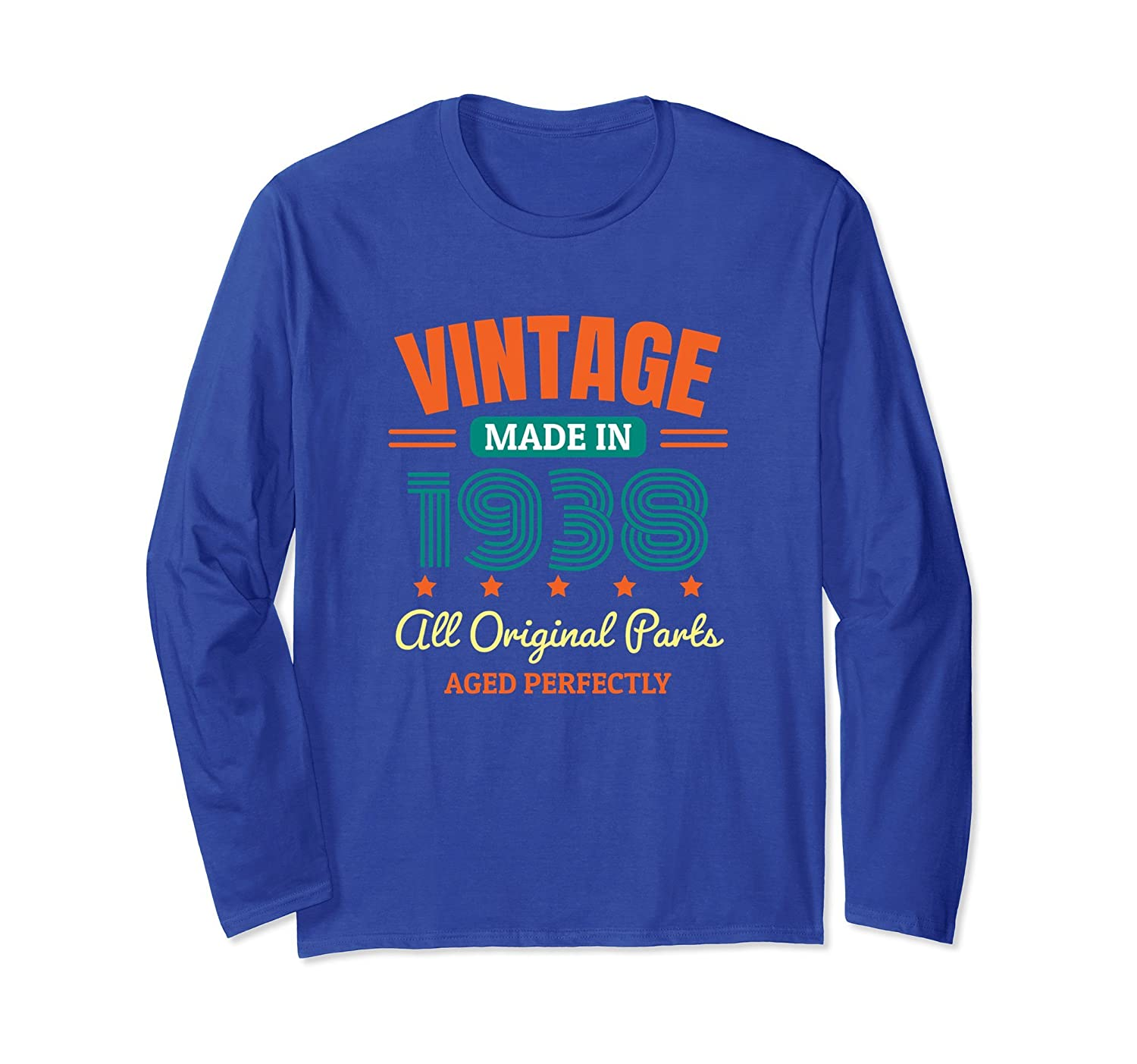 80th Birthday Vintage Made In 1938 Long Sleeve T-Shirt Gift-alottee gift