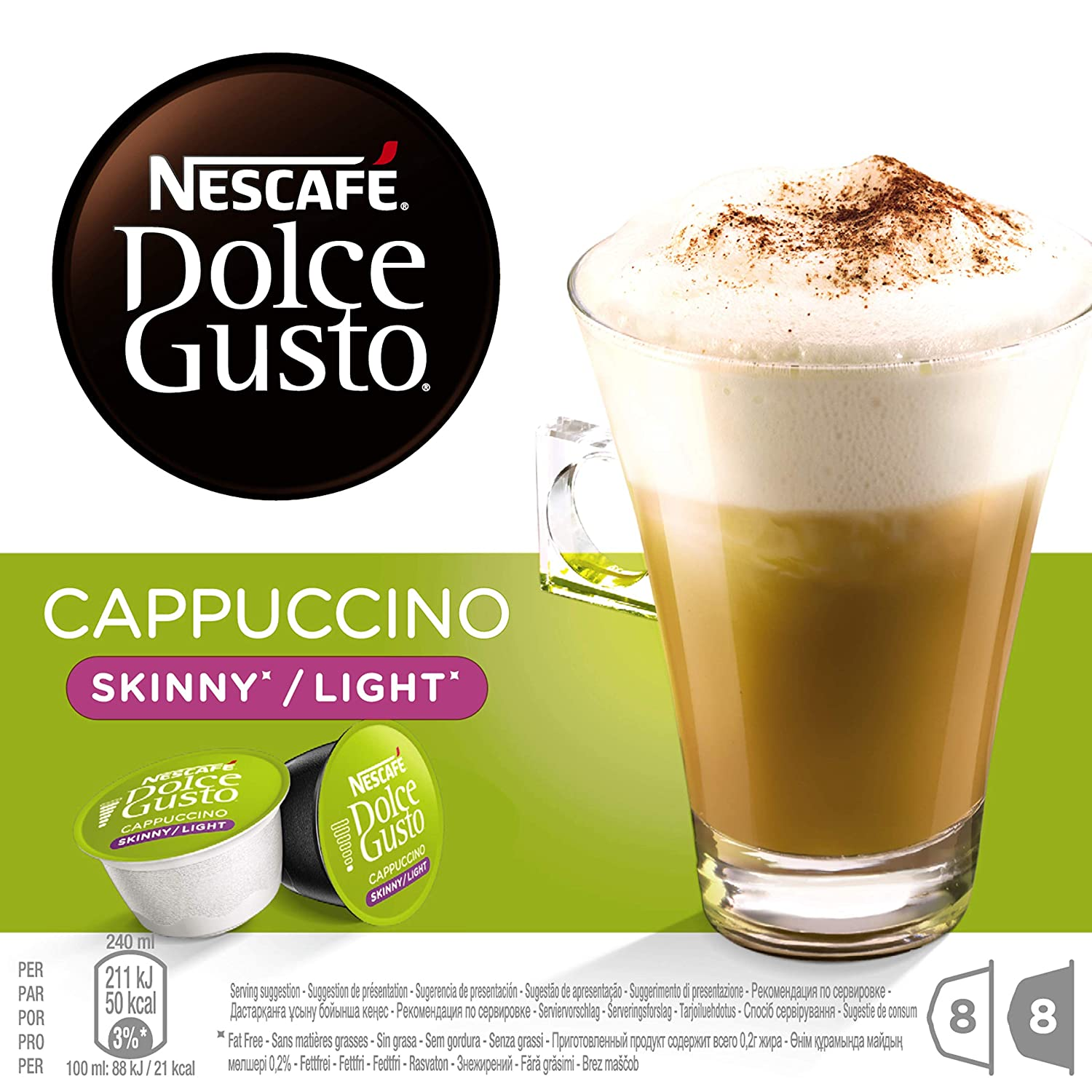 Nescaf? Dolce Gusto Skinny Cappuccino 16 Capsules, 8 servings (Pack of 3, Total 48 Capsules, 24 Servings)