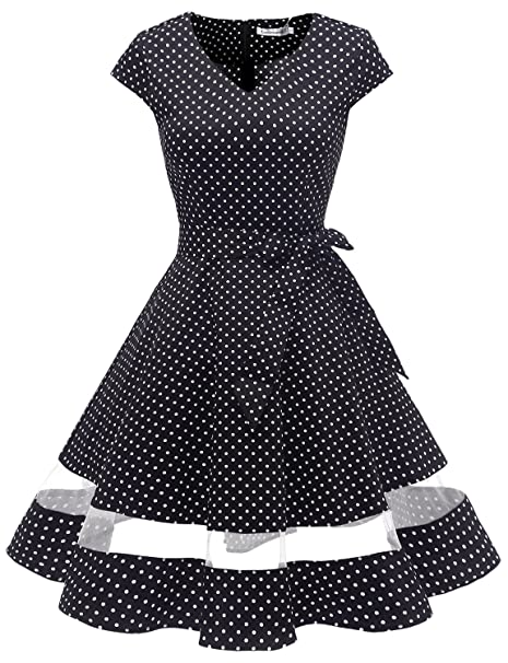 Vintage Polka Dot Dresses – 50s Spotty and Ditsy Prints Gardenwed Womens Vintage 1950s Retro Rockabilly Swing Dress Cocktail Dress with Sleeves $28.99 AT vintagedancer.com