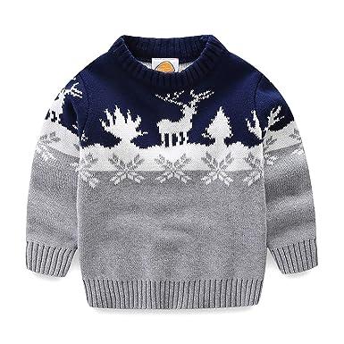 d3d26a655037 Amazon.com  Mud Kingdom Boys Christmas Sweaters Xmas Reindeer ...