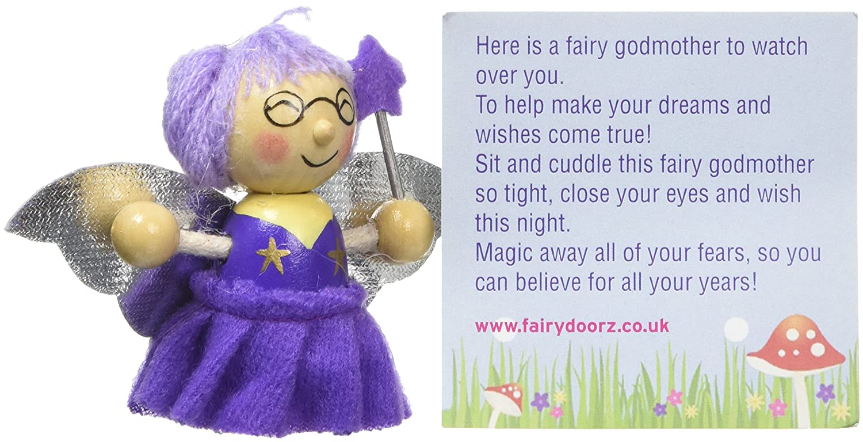 Wood Purple Fairydoorz Friend Doll Fairy Godmother 7 x 3 x 8.5 cm
