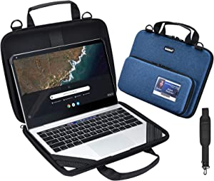 KEISKEI 11-11.6 inch Chromebook Laptop Work-in Carrying case, Protective Notebook Cover, EVA Always on Laptop Sleeve with Pouch and Shoulder Bag for Acer Samsung ASUS HP Dell 2020 MacBook Air (Blue)