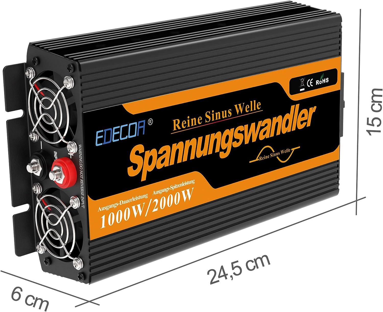 Edecoa Wechselrichter Reiner Sinus 12v 230v Spannungswandler 1000w 2x Usb Und Fernbedienung Auto Wechselrichter 12v Auf 230v Sinus Inverter Konverter Auto