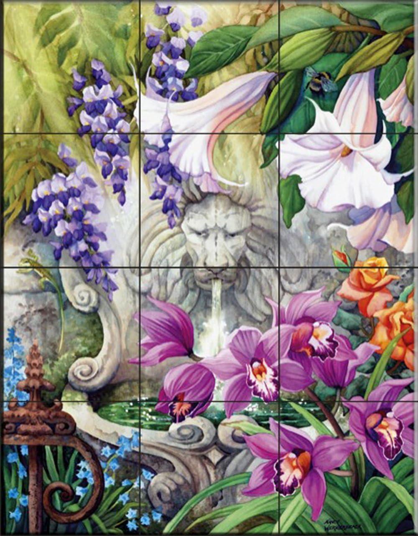 Fliesenwandbild K/üche Aufkantung//Bad Dusche A Secret Garden von Nancy Wernersbach
