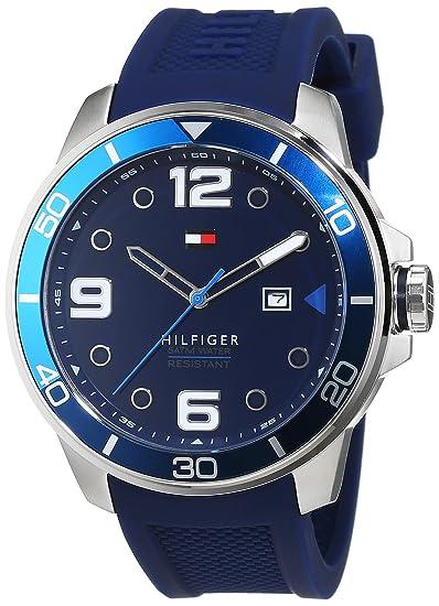 Tommy Hilfiger 1791156 - Reloj de Pulsera Hombre, Silicona, Color Azul: Amazon.es: Relojes