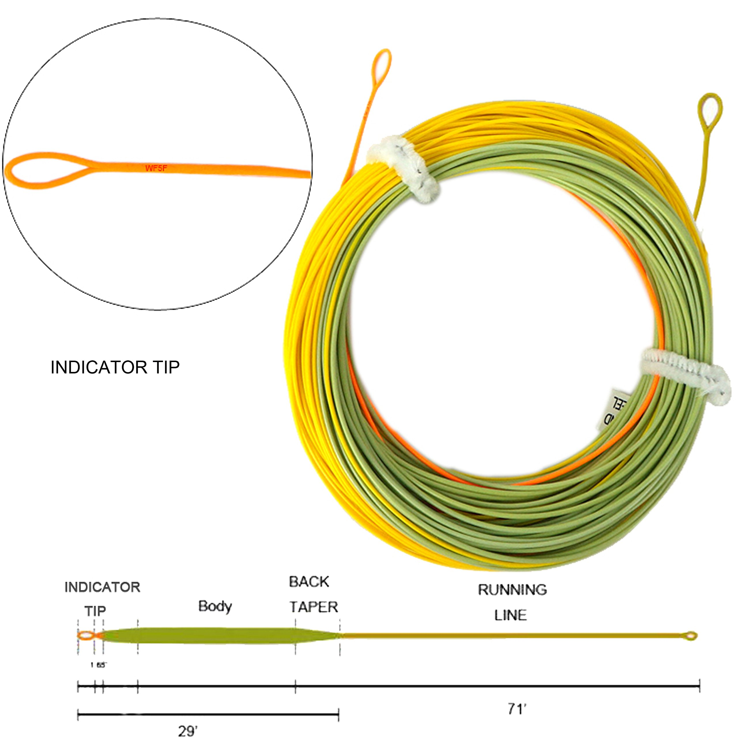 Aventik Fly Fishing Line Weight Forward Indicator Fly Line Percerption Line Ultra Low Stretch Core, Loading Zoom Welded Loops Line (Orangerange+Green+Yellow 3F)