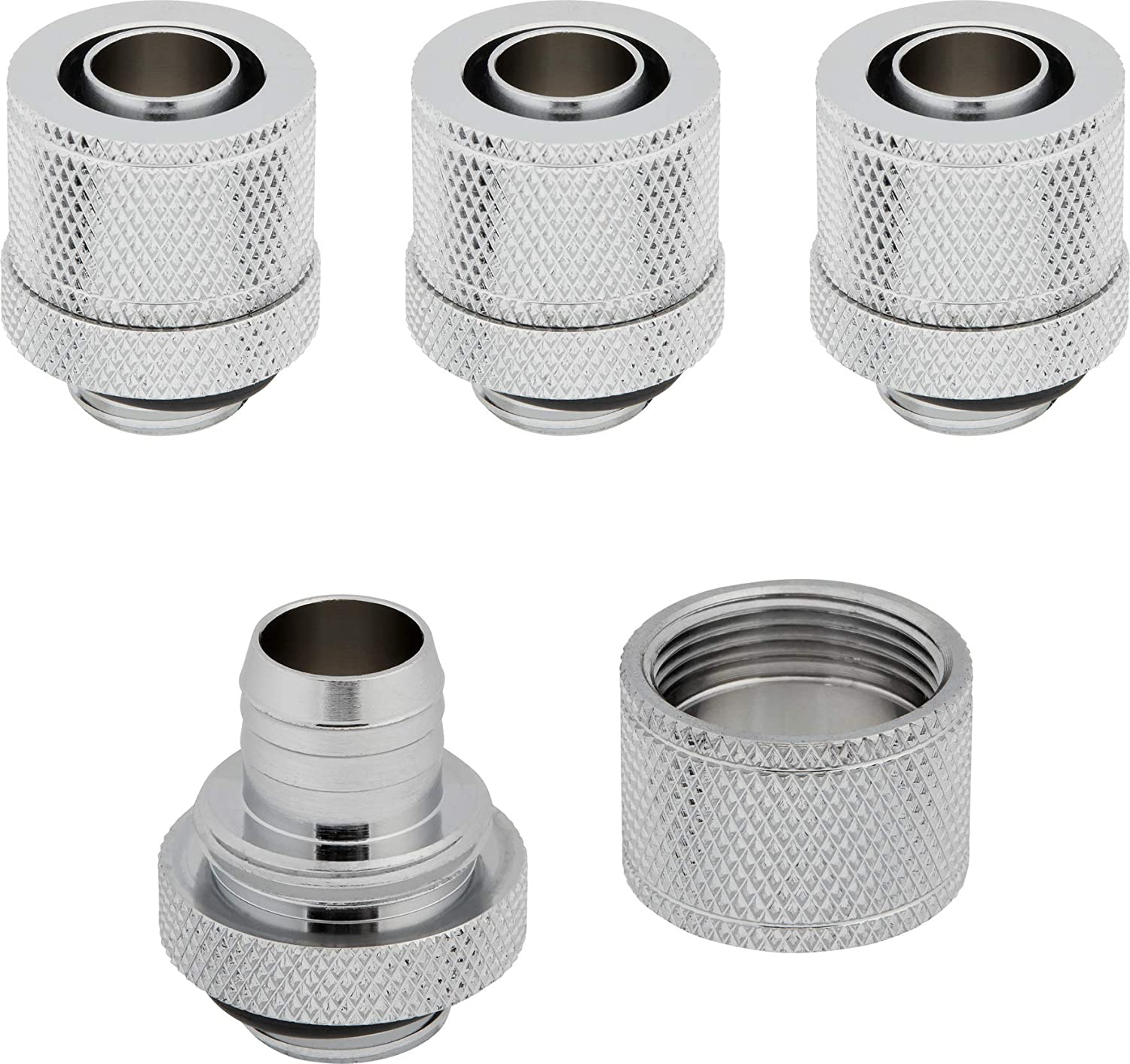 """Corsair Hydro X Series XF Compression 10/13mm (3/8"""" / 1/2"""") ID/OD Fittings, Chrome, 4-Pack"""