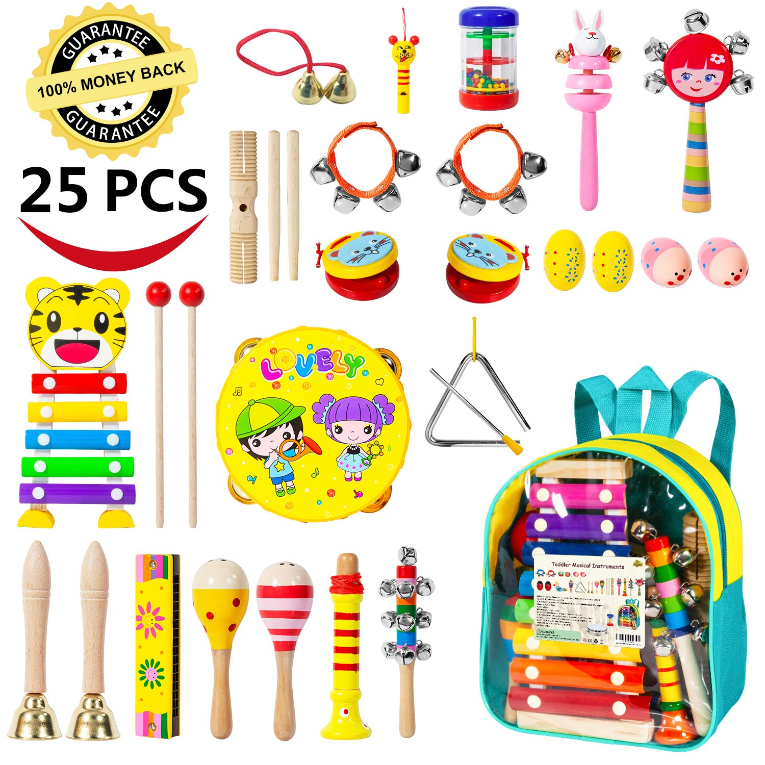 Toddler Musical Instruments-25 PCS 17 Types Wooden Percussion Instruments Toy for Kids Musical Toys for Kids Musical Toys Set for Boys and Girls with Storage Bag
