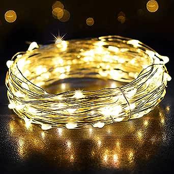 Guirnalda Luces 12M 120 LED, OMERIL Cadena de Luces Impermeable IP65, Luces Navidad USB y Luces de Hadas para Decorativas, Navidad, Habitacion, Fiesta, Jardín, Bodas, Césped - Alambre de Plata