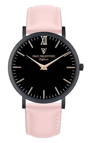Paul Valentine Reloj de pulsera | Beverly Rosa con piel de pulsera: Amazon.es: Relojes