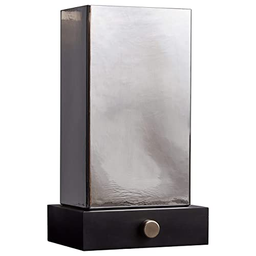 Stone Beam Modern Table Lamp, 15 H, Black with Glass Smoked Shade